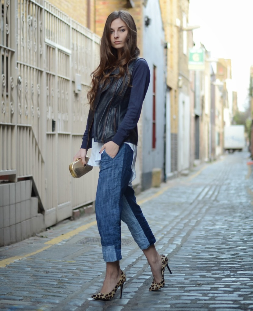 Veronika is wearing KELLY LOVE waistcoat, MARKS & SPENCER jumper, H&M shirt, ZARA jeans, and DUNE shoes